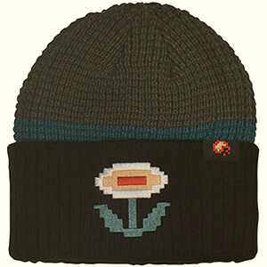Grey Super Mario bros dungeon fire flower beanie