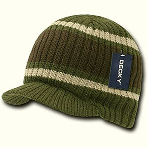 Knit green with brown and beige stripes billed beanie