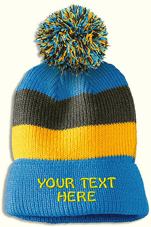 Light blue-yellow-gray stripes custom beanie with pom