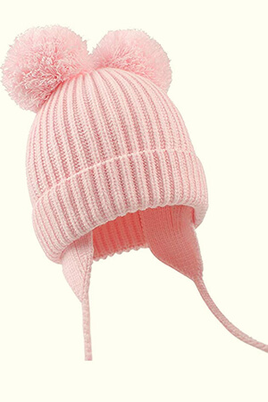 Light pink baby girl's beanie hat with double pom poms