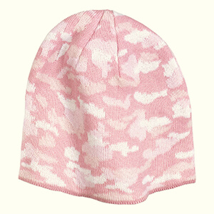 Pink camouflage beanie for women