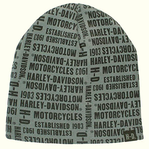 Repeated H-D text gray Harley-Davidson beanie