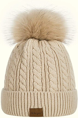 Twist braid knit fleece-lined beanie women with huge pom pom