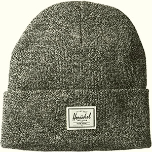 Two colors thread Herschel beanie with white label