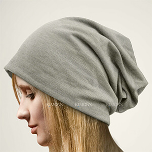 Very soft and gentle light gray oversized beanie