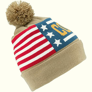 American flag Coal beanie with pom