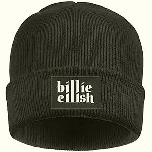 Black beanie Billie with Billie Eilish script in white