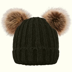 Black double fur pom poms beanie with brown pom poms