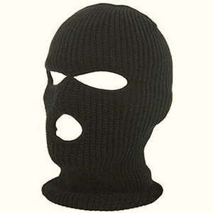 Black knit winter face mask