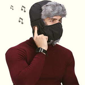 Black winter face mask beanie with headphones