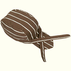 Brown welding beanie with white stripes