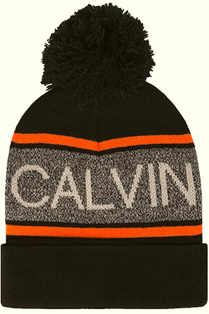 Calvin Klein beanie men with large script and pom