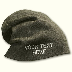 Dark gray slouchy without the folded part custom beanie