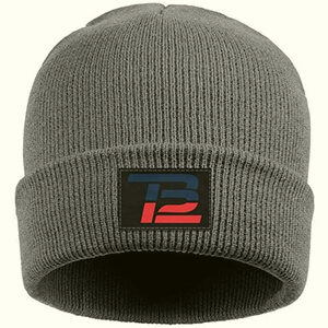 Gray Tom Brady beanie with blue and red TB letters
