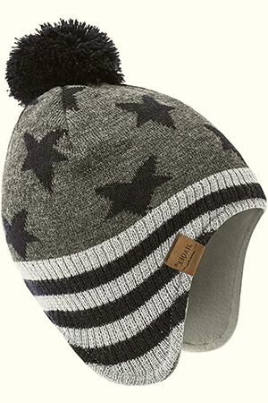 Gray with navy stars winter cap for baby boy