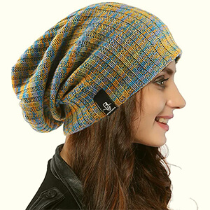 Light blue-yellow slouchy oversized beanie