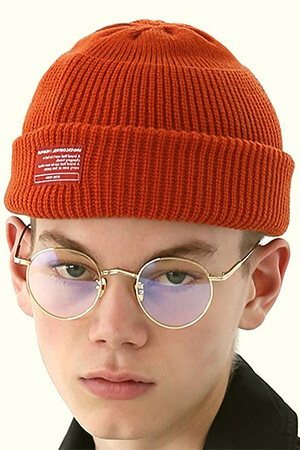 Orange fisherman style skater beanie
