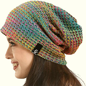 Slouchy beanie women's waffle colorful knit