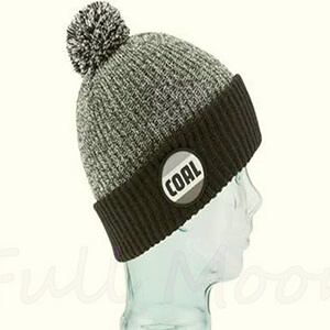 Black and gray pom Coal beanie with circle-shaped logo