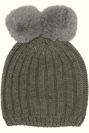 Gray double fur pom poms beanie with joined pom poms