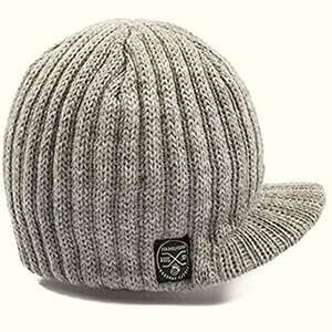 Light gray infant boy's beanies with bill