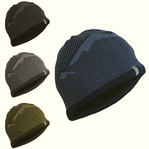 Mountain design skull fleece-lined beanie men