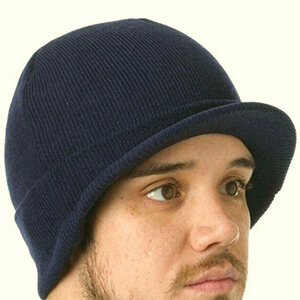 Navy blue knit beanie with bill