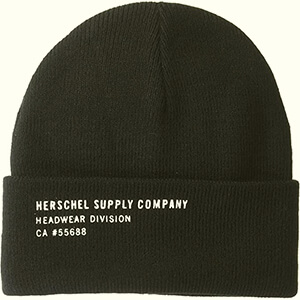 Screen printed Herschel Supply Company branding Herschel beanie