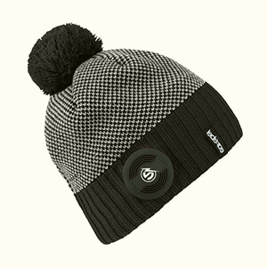 Waterproof black-white beanie with built-in headphones and pom pom