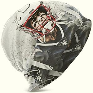 White slouchy Tom Brady beanie