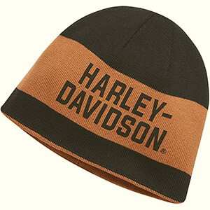 Wide stripe reversible black-orange Harley-Davidson beanie