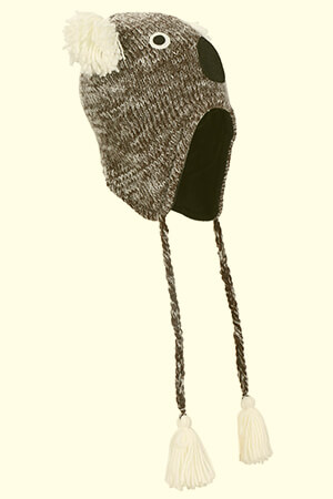 Animal pattern beanie with ear flaps