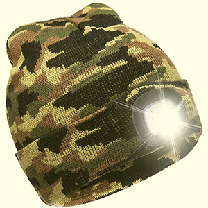 Black camouflage beanie with LED light