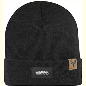 Black flat knit LED beanie hat
