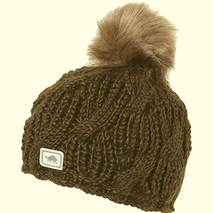 Cable knit merino wool beanie with pom-pom