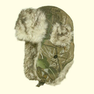 Camouflage winter hat with ear flaps