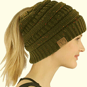 BeanieTail Hat Warm Knit Stretchy Beanie Hole Cap for Women and Men in Winter Black