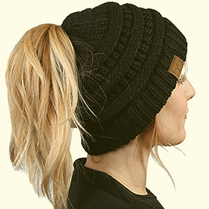 CC Ponytail Messy Bun BeanieTail Womens Beanie Solid Ribbed Hat Cap.