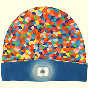 Colorful 3D cubes pattern LED beanie hat