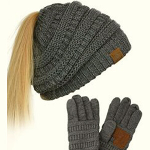 Dark metallic gray knit beanie with ponytail hole