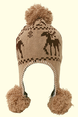 Deer design beanie with ear flaps with three poms