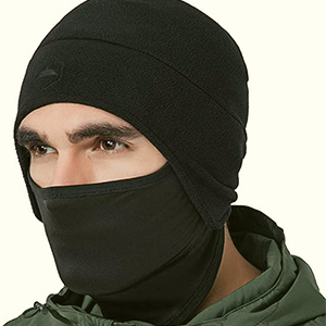 Fleece helmet beanie with pull-down mask