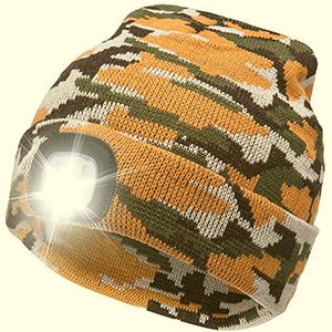 Folded orange-camouflage beanie with light