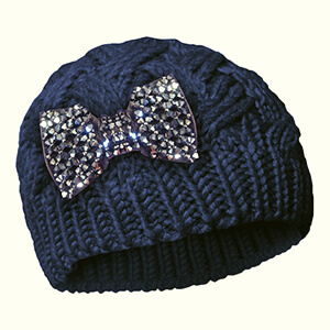 Knit cute beanie hats with a sparkling bow