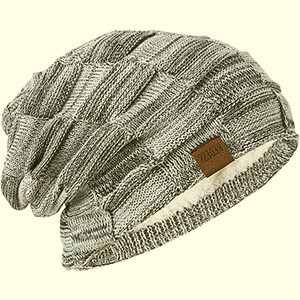 Knit fleece-lined winter sustainable beanie