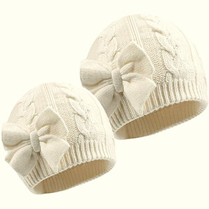 Knit matching beanie with bow