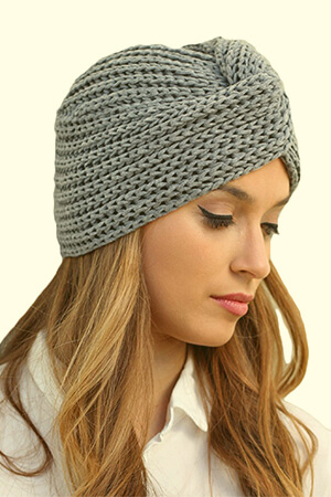 Knitted turban girl's beanie hat