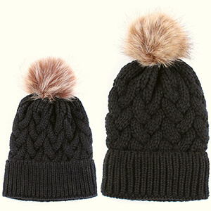 Large braid knit matching beanie with pom-pom