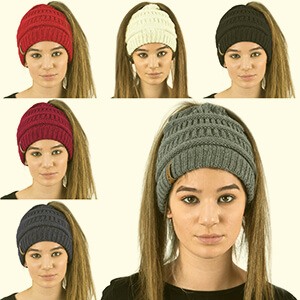 Mid gray knit beanie with ponytail hole