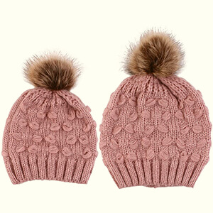 Puff stitch pattern matching family hats
